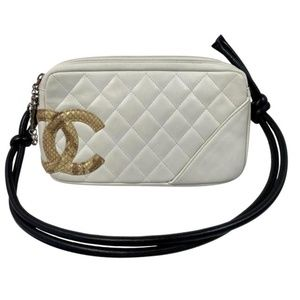 CHANEL White Leather and Python Ligne Pochette